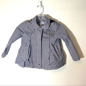 Mayoral Gingham Spring Coat Navy Blue White Size 4